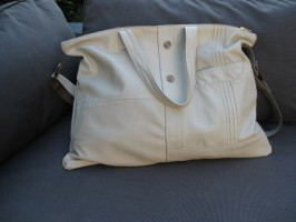 Upcycled Off White Across Body Shopping BETTY Tote from Harrods Jacket