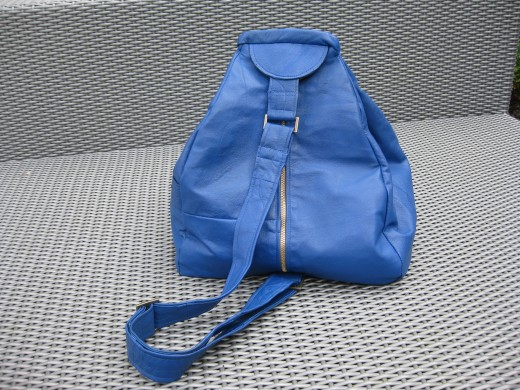 Cobolt Blue Leather Coat transformed into Sling Strap Backpack Handbag