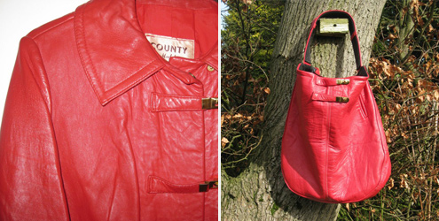 Recycled Leather Slouch Hobo in Red