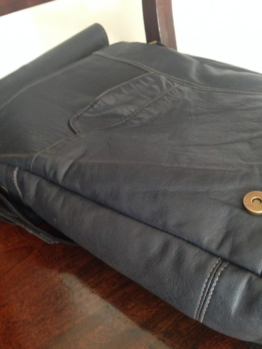 Joe Upright Messenger from Vintage Blue Leather Jacket